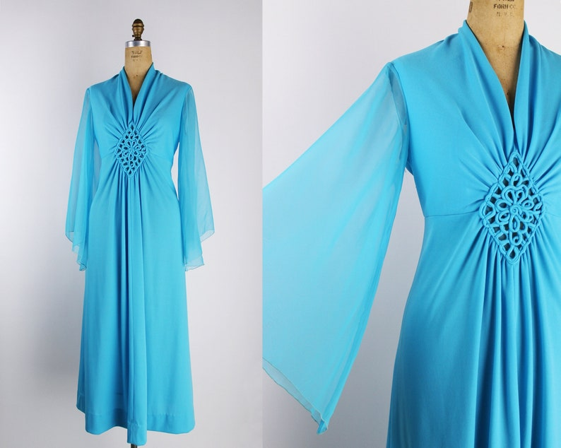 70s Bell Sleeves Turquoise Maxi Dress / 70s Dress / Angel image 0