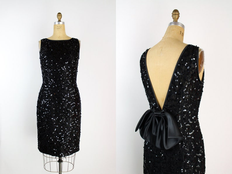 90s Black Cocktail Party Dress / Bow Dress / Holiday Dress / image 0