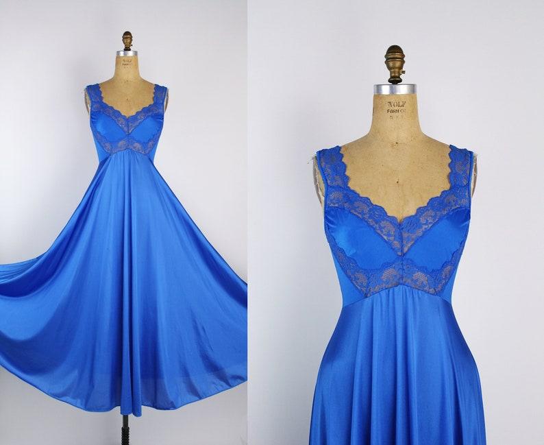 Vintage 60s Olga Style Nightgown Blue Slip Dress / Full Slip / image 0
