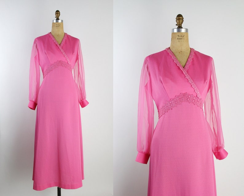 60s Hot Pink Maxi Dress / Balloon Sleeves Dress / Sheer image 0