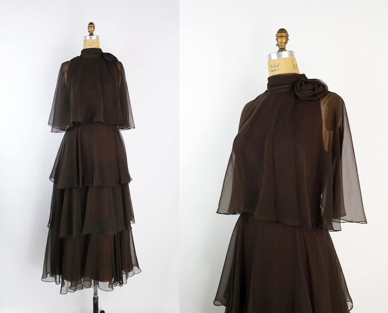 70s Miss Elliette Chocolate Cocktail Dress / Ruffle Maxi Dress image 0