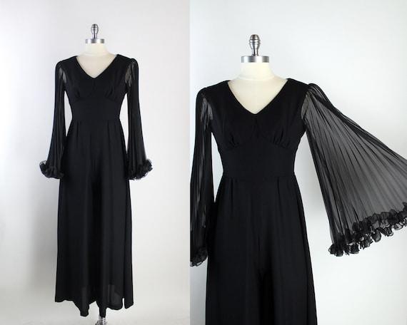 60s Mod Black Palazzo Jumpsuit / Bell Sleeves Jump