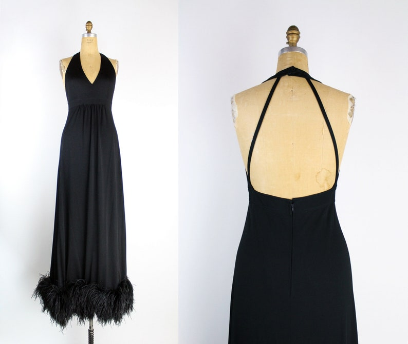 70s Stunning Marabou Black Maxi Dress / Open Back Dress / image 0