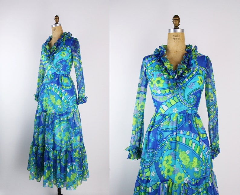 60s Flower Power Maxi Dress / Party Dress / MOD / 60s Dress / image 0