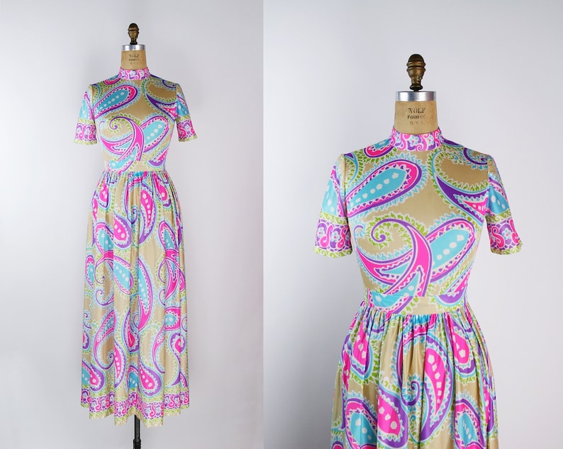 60s Neon Pink Maxi Dress / Mod Dress / 60s Dress / 70s / image 0