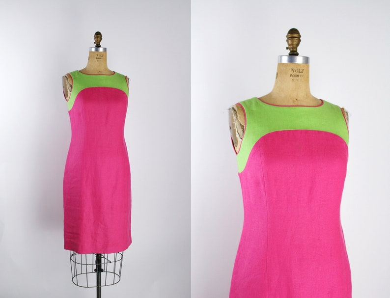 Vintage Linen Lime Green & Hot Pink Dress / 90s Dress / image 0