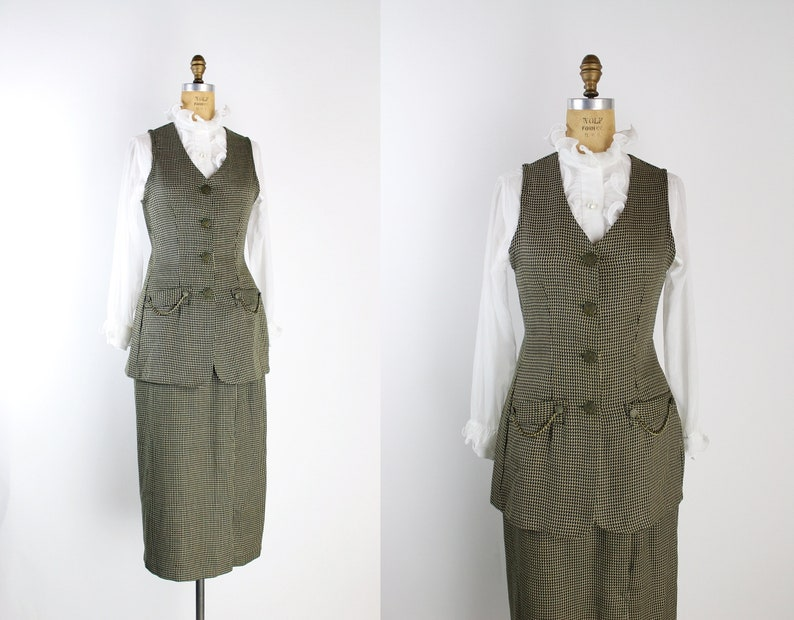 70s Tweed Two Piece Set / Vintage Vest and Skirt / 70s Suit / image 0