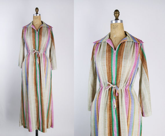 70s Rainbow House Robe / Nightgown/ Slip Dress / F