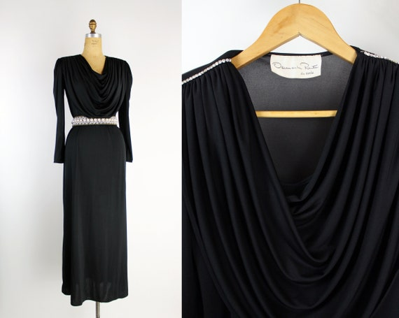 80s Oscar de la Renta Black Maxi Dress / Rhineston