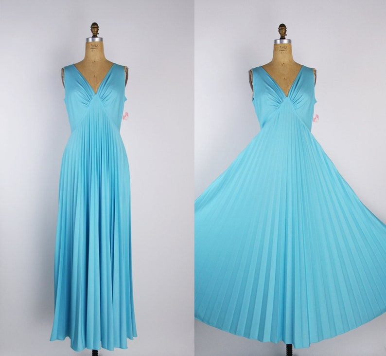 70s Turquoise Maxi Dress / Pleated Dress / Nightgown / Vintage image 0