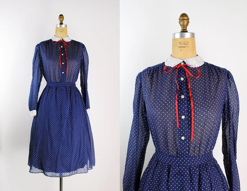 70s Navy Blue and White Polka Dot Dress / Peter Pan Collar / image 0
