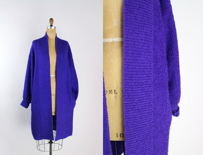 80s Oversized Purple Cardigan / Vintage Sweater / Maxi Cardi / image 0