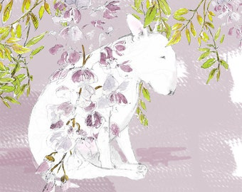 English Bull Terrier under the Wisteria Print