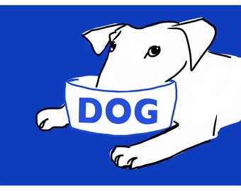 Dogs Dinner TIme Print - Hungry Dog Illustration - Bull Terrier - Dog Bowl