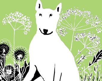 English Bull Terrier Cow Parsley - English Hedgerow Card