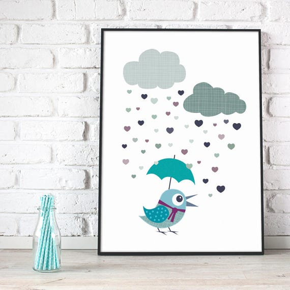 Baby Boy Blue Nursery Decor Birds Rainy Day Gray Blue Baby