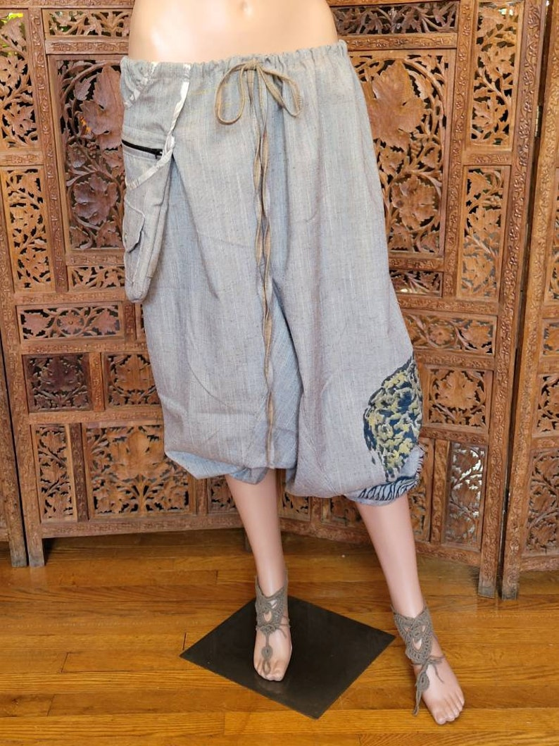 OOAK  One Size Unisex Magick Pants with 3 Pockets and Silk Screened Tree Spirit artwork