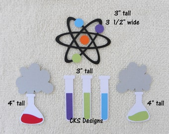 Die Cut Science Experiment School Premade Paper Piecing Embellishment For Card Making Scrapbook Or Crafts