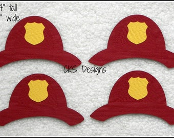 Die Cut My Hero Fireman Hats Premade Paper Piecing Embellishment For Card Making Scrapbook Or Crafts
