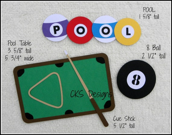 Die Cut Pool Table Billiards Premade Paper Piecing Etsy - How wide is a pool table