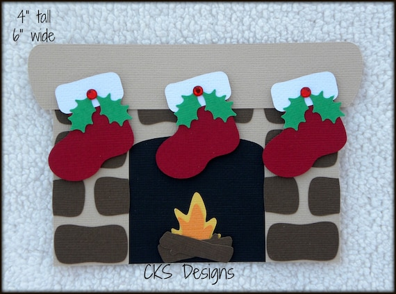 Die Cut Christmas Chimney Fireplace With Stockings Premade Etsy