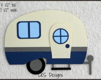 Die Cut Camping Trailer Camper RV Premade Paper Piecing Embellishment for Card Making Scrapbook or Paper Crafts