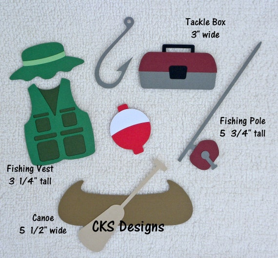 Scrapbook /& Card Making 8 Piece Fishing Set Premade PAPER Die Cuts