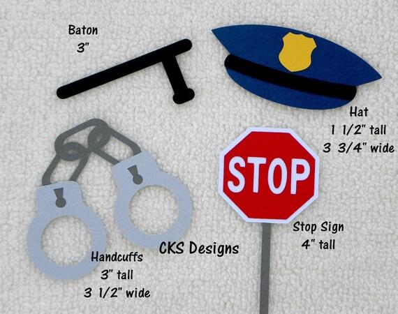 Die Cut Cop Policeman Hero Handcuffs Baton Hat Premade Paper