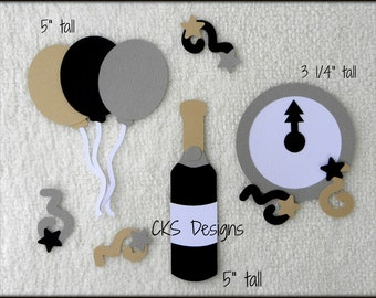 Die Cut New Years Eve Scrapbook Page Embellishments for Card Making Scrapbook or Paper Crafts