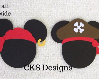 Die Cut Disney Pirate Mickey Mouse Heads Paper Piecing Embellishment for Card Making Scrapbook or Paper Crafts