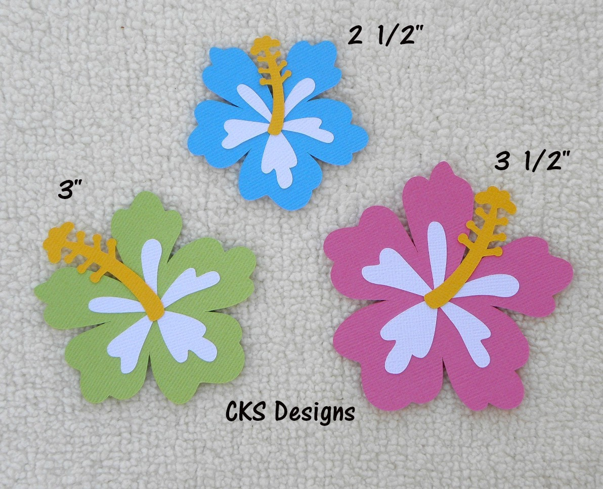 Die Cut Hibiscus Flowers Luau Tiki Hawaii Party Scrapbook Page Etsy