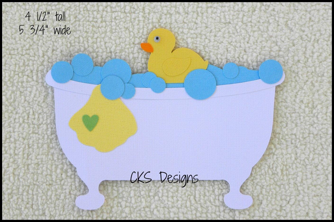 Die Cut Bath Time Bath Tub Premade Paper Piecing Embellishment for ...