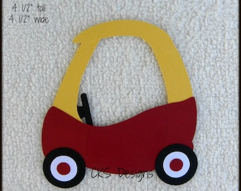 Die Cut Cozy Coupe Toy Car RED or PINK Scrapbook Page Embellishments for Card Making Scrapbook or Paper Crafts