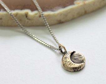 Tiny crescent/full moon pendant