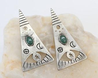 Ouija statement triangle earrings