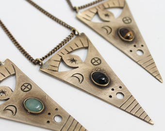 Ouija statement triangle unisex pendant