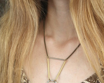 Bast bronze and silver brass necklace