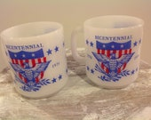 Two Vintage 1976 Glasbake Bicentennial Coffee Mugs, Milk Glass Eagles USA Collector Mugs, 1776 To 1976 Red White And Blue Patriotic Mugs