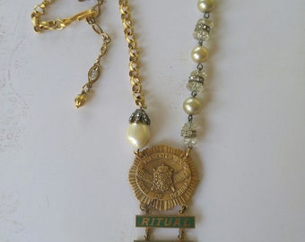 Upcycled medal necklace, repurposed, vintage, one of a kind, assemblage jewelry