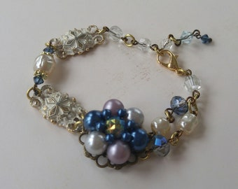 Upcycled vintage bracelet, repurposed, shabby chic, retro, wedding, one of a kind, assemblage jewelry