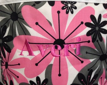 Clearance Kids apron pink, black and grey flowers with white trim and ties