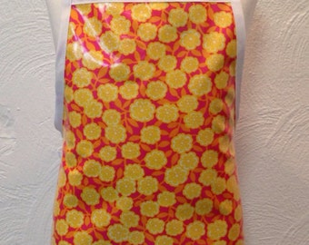 Child's oilcloth apron with lemon flowers two sizes to choose from
