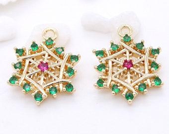 2pcs-18mmX15mm Brass based gold tone Snowflake charm w green red Rhinestone,minimalist earring charm