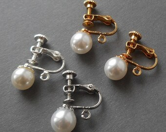 8cf0a62ed 4pcs, 2 pairs- Screw in Clip earring findings w/ faux pearls, Screw back  clips,non pierced clip adjustable clip adaptor