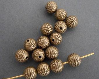 20pcs-7mm round beads-antique brass beads,metal beads
