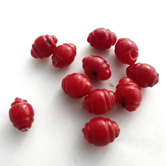 8Pcs Coral Rojo Flor De Loto granos encontrando Collar//Pulsera//Accesorios Colgante