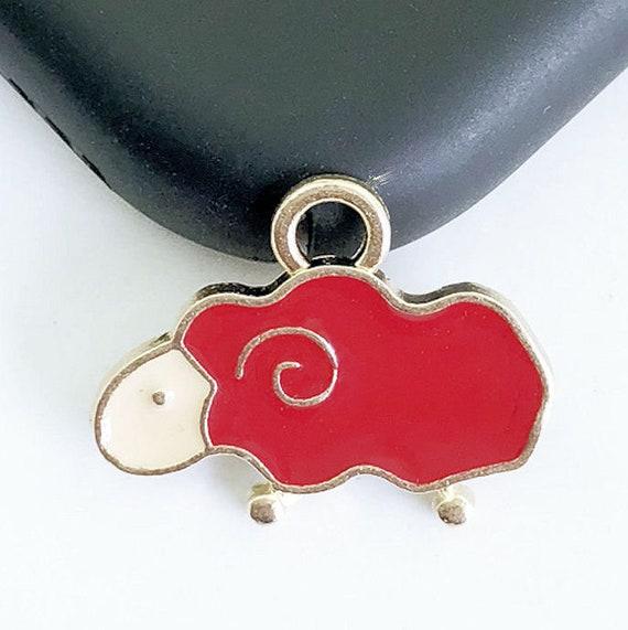 8pcs-enamel heart Charm-you pick the color