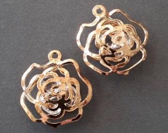 2pcs-hollow rose flower charm filled w/ Rhinestone -Gold tone rose flower charm