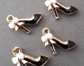 6pcs-enamel high heel black shoe Charm-You pick the color
