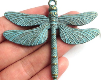 """3"""" LARGE Patina green tone brass dragonfly charm pendant"""